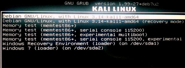 Kali Linux GRUB boot menu