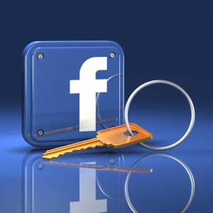 facebook logo with key