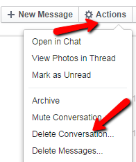 Actions -> Delete Coversation